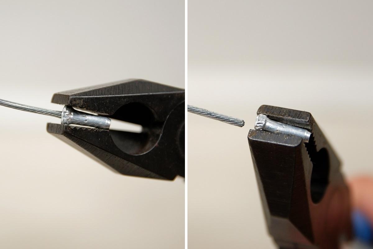 ブレーキワイヤーのエンドキャップをペンチで外す