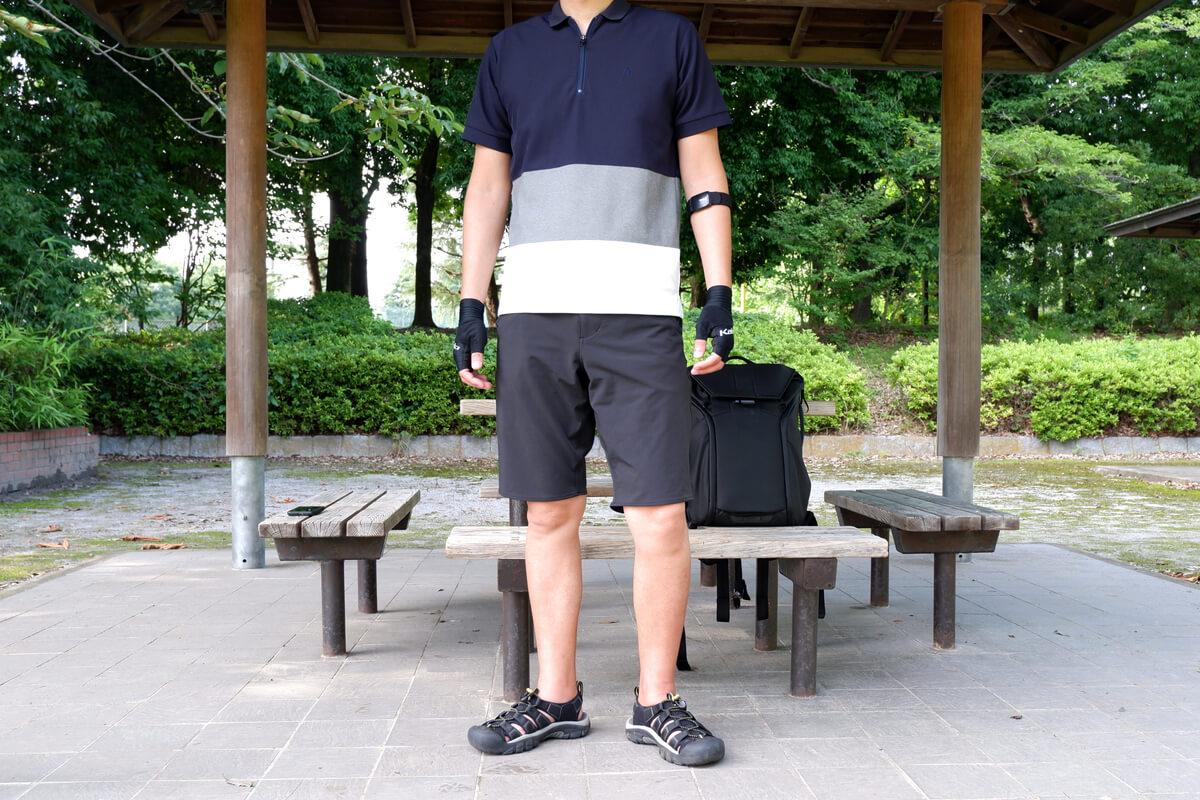 ナリフリ NF1095 サイクルポロシャツを着た男性