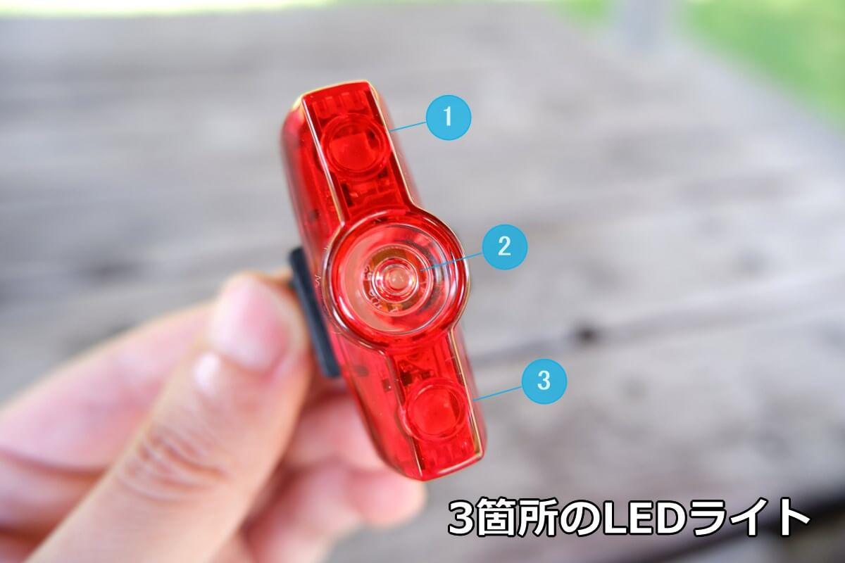 キャットアイ RAPID miniのLEDライトは3箇所ある