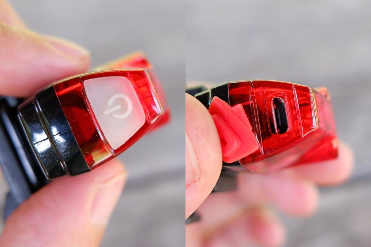 キャットアイ RAPID miniの電源ボタンとUSB充電端子