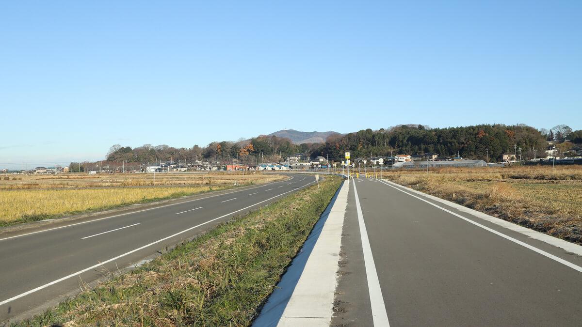 旧筑波鉄道コースと車道