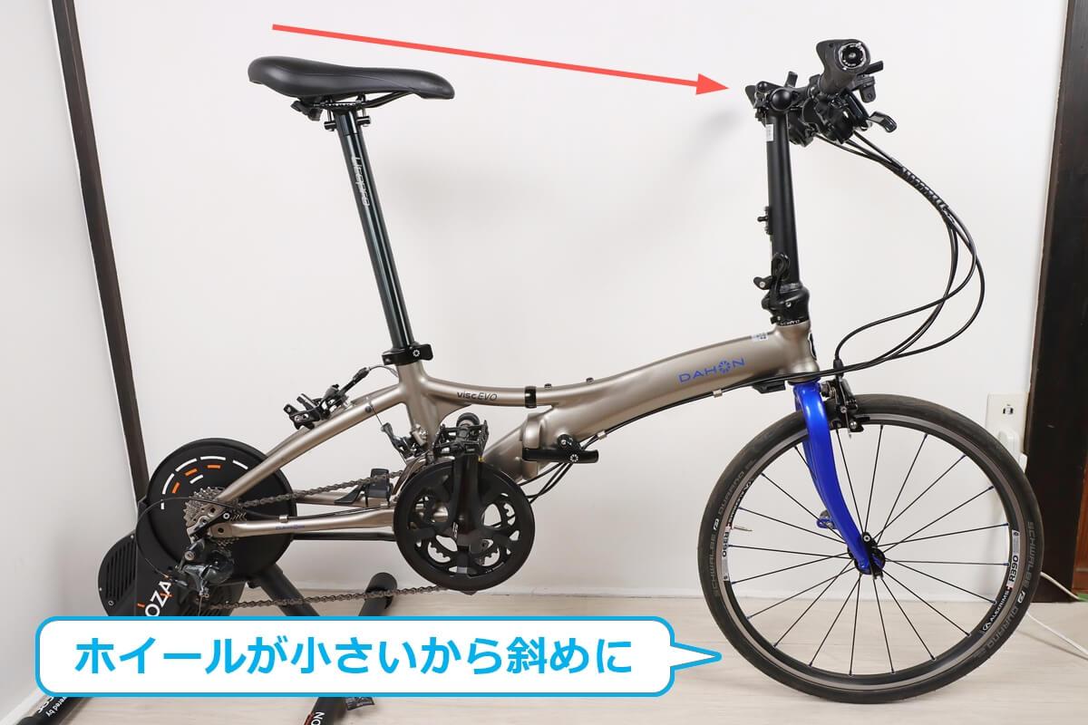 エクスプローバー NOZA Sに20インチの折りたたみ自転車をセットすると車体が斜めになる