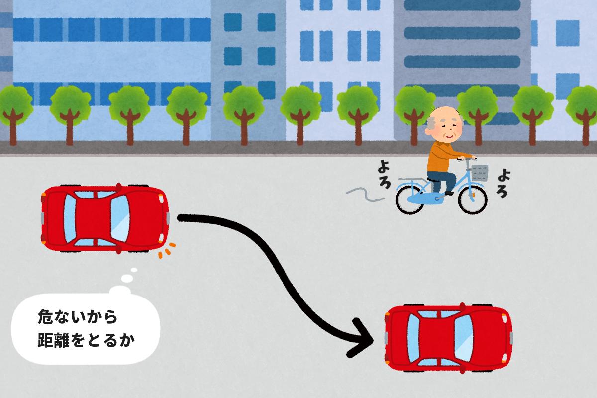 高齢者の自転車に気を配る自動車