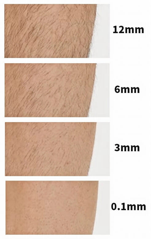 Panasonicのボディトリマー、毛の長さ比較