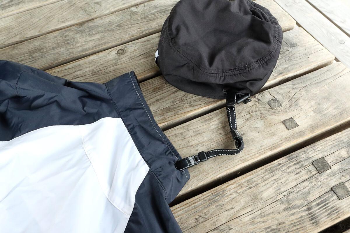 シマノ キャップストラップで帽子と洋服の襟をつなぐ