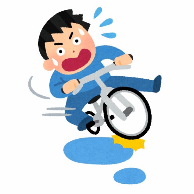 水たまりで滑る自転車のイラスト
