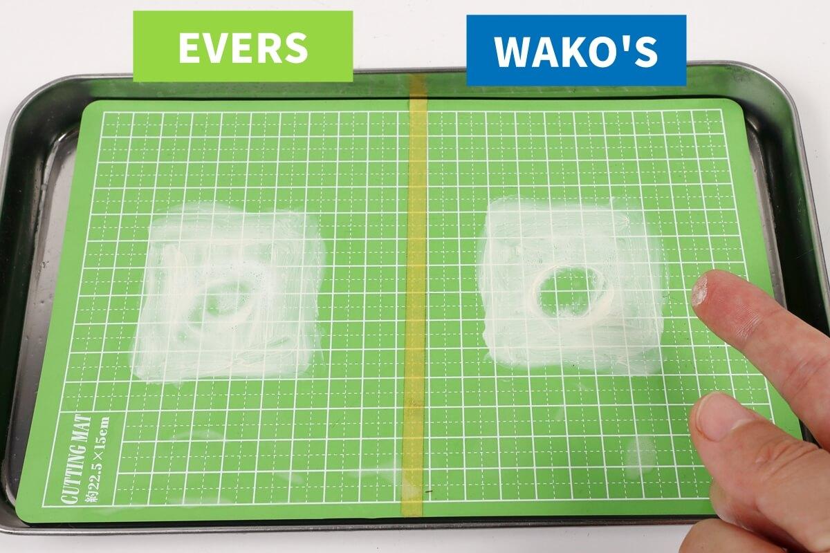 WAKO'SとEVERSマルチクリーナーのグリス汚れの落ち方