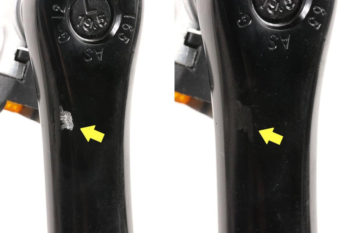 キズペンで自転車クランクを補修