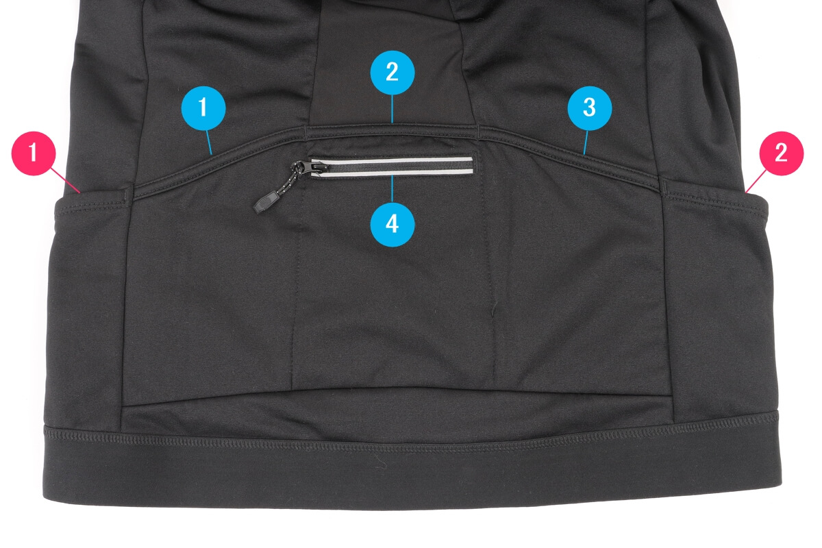 ワークマン MOVE ACTIVE CYCLE ウォームジャージの背面ポケットの数