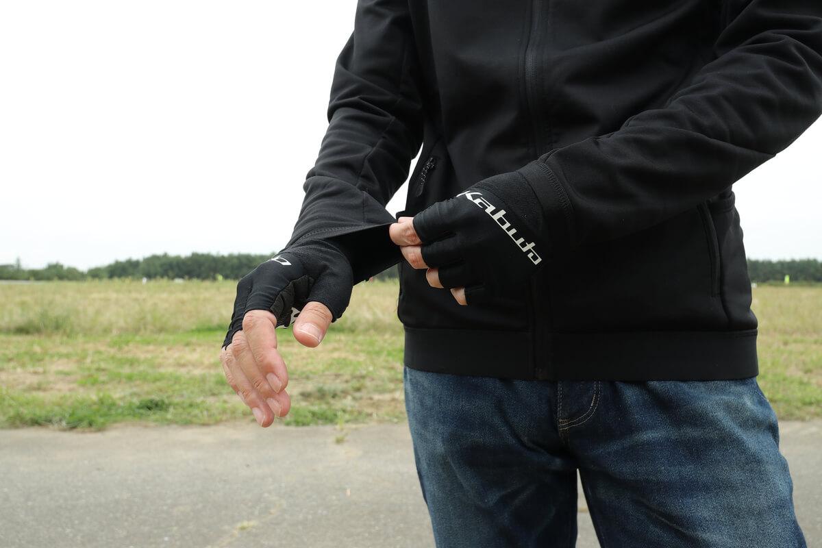 ワークマン MOVE ACTIVE CYCLE ウォームジャージの手首はゴム素材